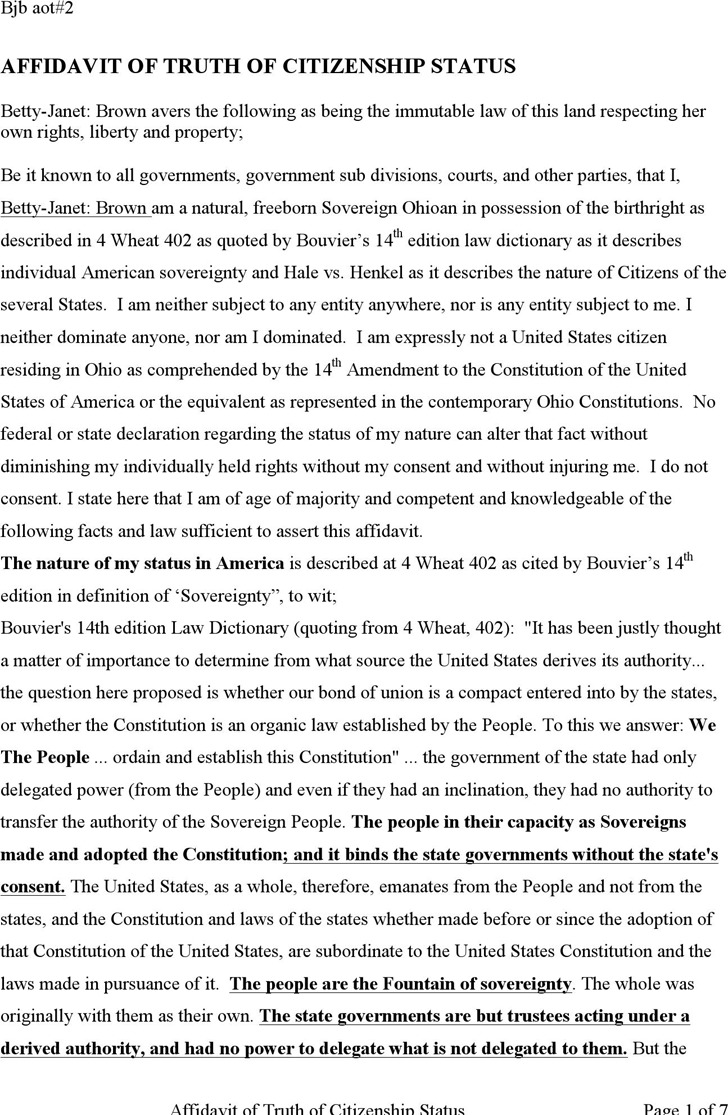 Affidavit of Truth of Citizenship Status
