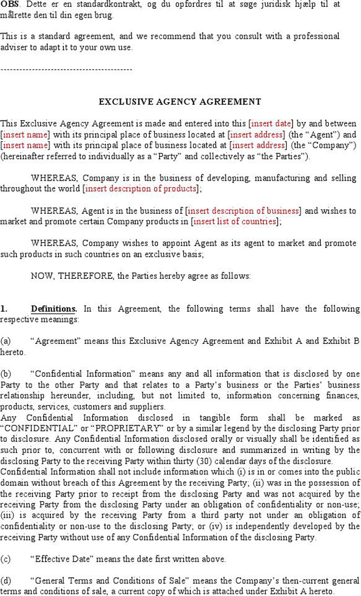 Agency Agreement Sample 1