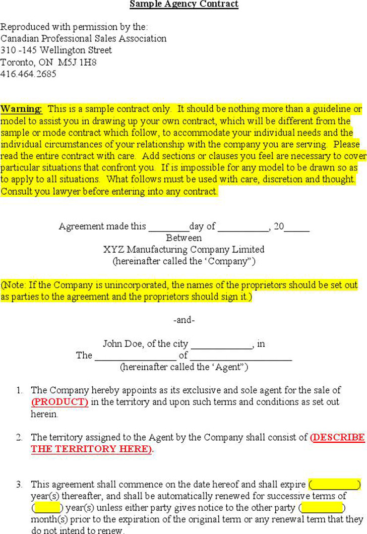 Agency Agreement Sample 3