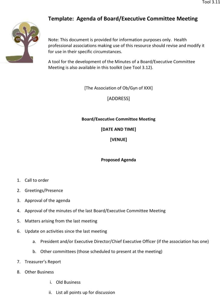 Agenda Board Executive Committee Meeting Sample