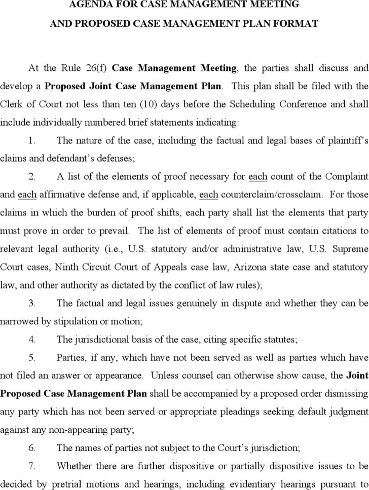 Agenda For Civil Case Management Meeting Sample