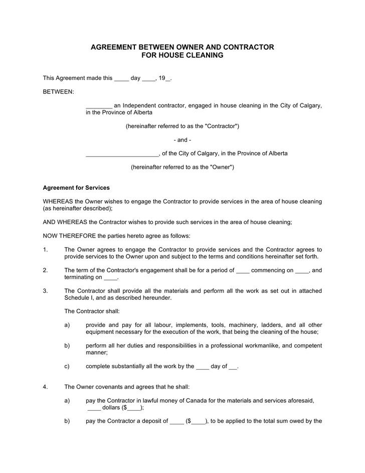 Agreement Between Owner and Contractor For House Cleaning Free Doc