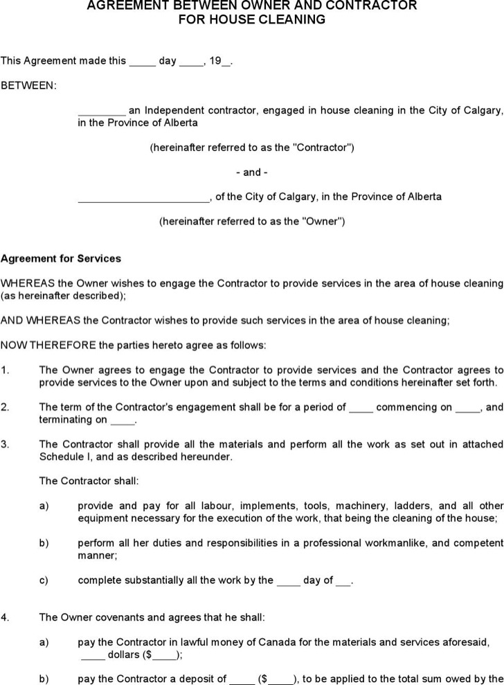 Agreement Between Owner Contractor For House Cleaning Free Doc