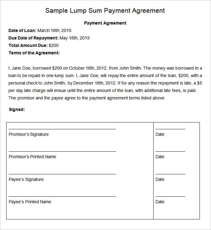 Agreement Payment Plant Template