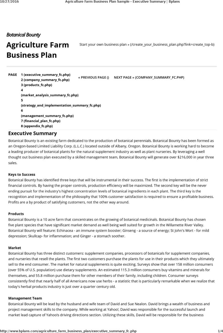 Agriculture Farm Business Plan Template