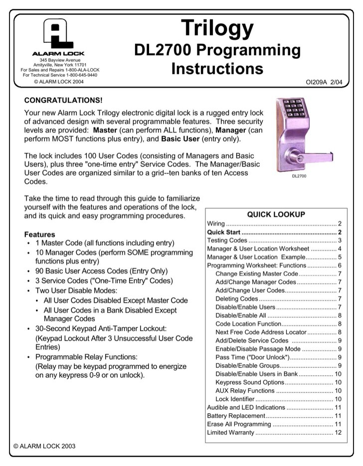 Alarm Lock Programming Instructions Manual Sample