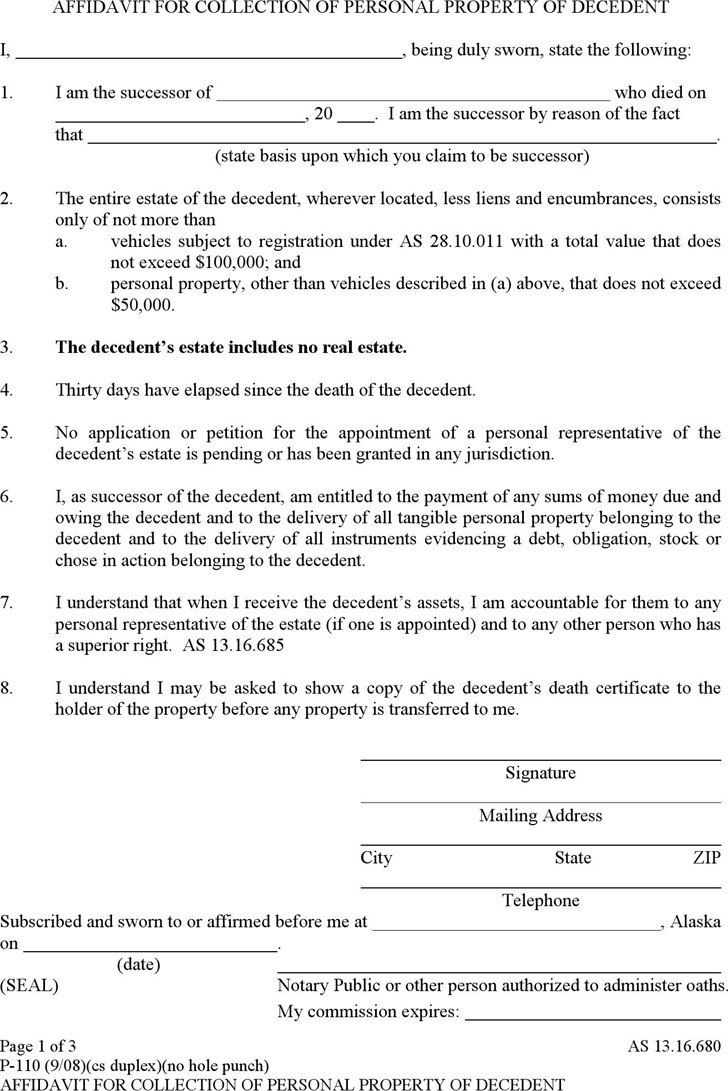 the letter people 11 alaska affidavit form free 13100 | alaska affidavit for collection of personal property of decedent form
