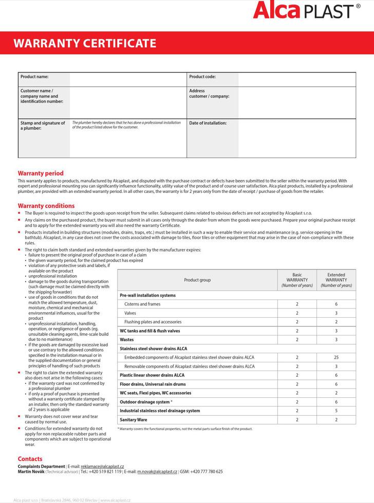 Alca Plast Warranty Certificate