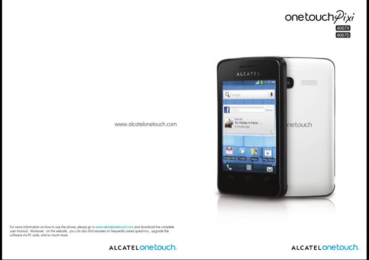 Alcatel OneTouch Owners Manual Sample