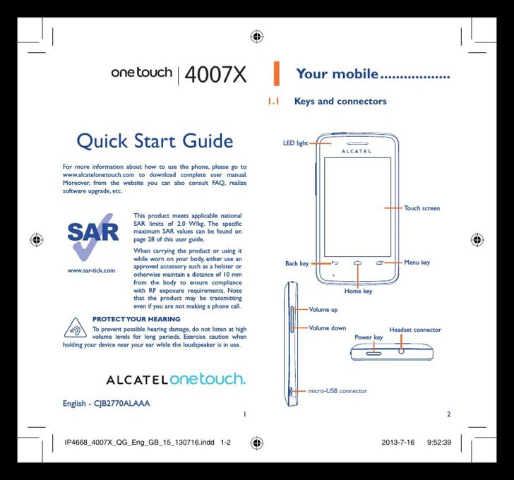 Alcatel OneTouch Quick Start Guide Sample