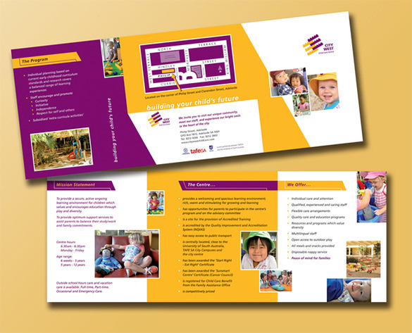 Amazing Brochure Design Template for Child Care