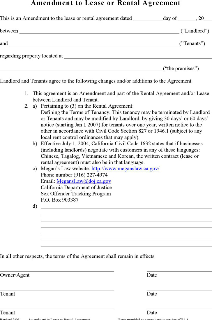 Amendment to Lease or Rental Agreement