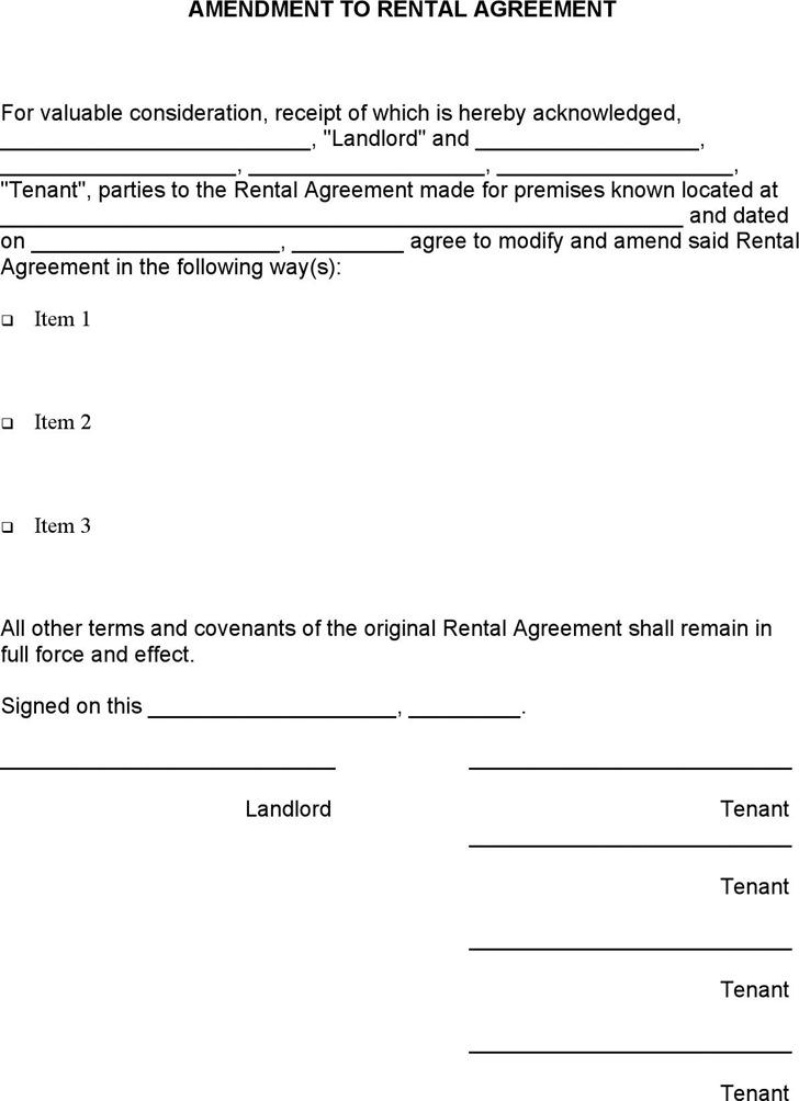 Amendment to Rental Agreement