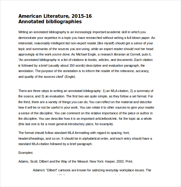 American Literature Annotated Bibliography Word Document Free Download
