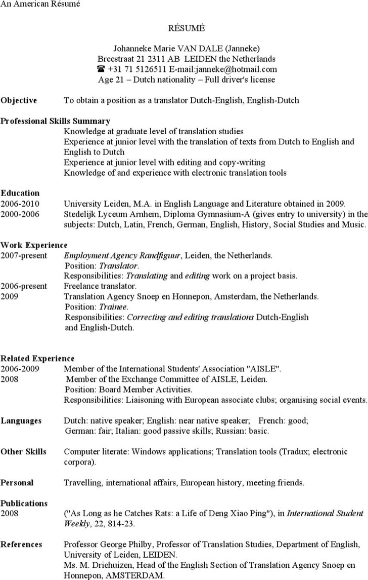 American Resume Example Template
