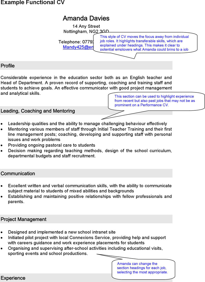 an Example of a Functional CV
