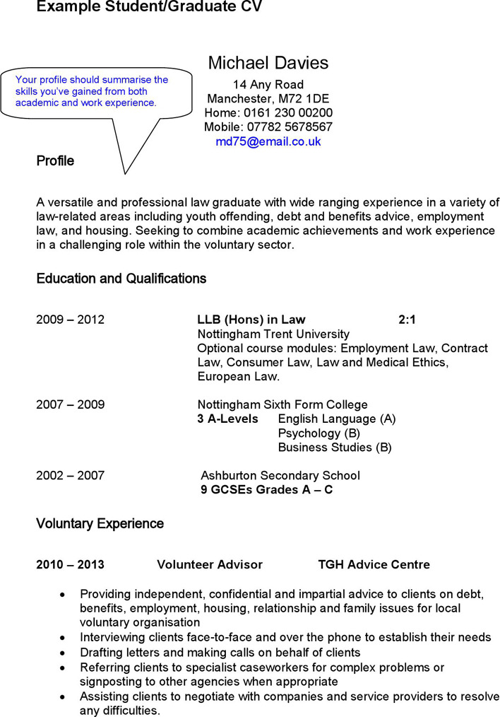 an Example of a Student or Graduate CV
