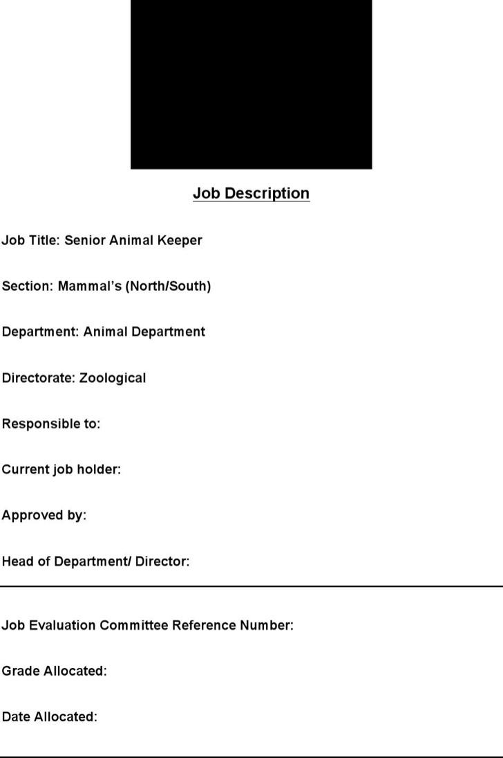 Animal Keeper Resume