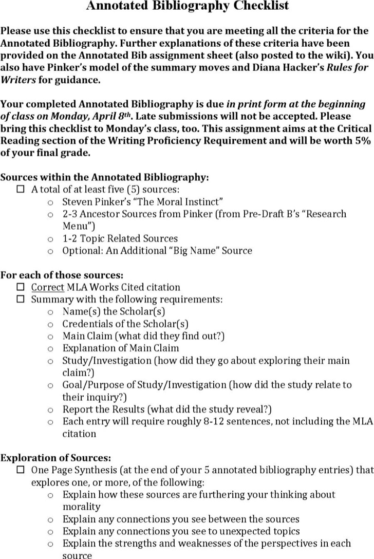 Annotated Bibliography Checklist Format Download