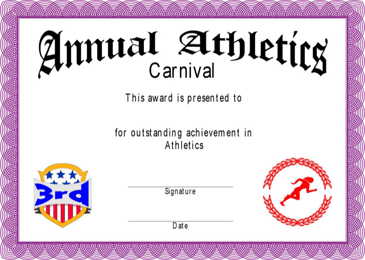 Annual Atheleitics Coach Certificate Template