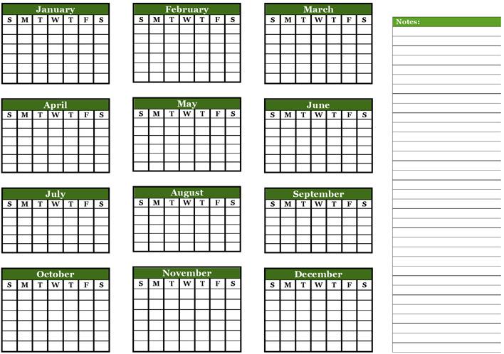 Annual Calendar / Checklist