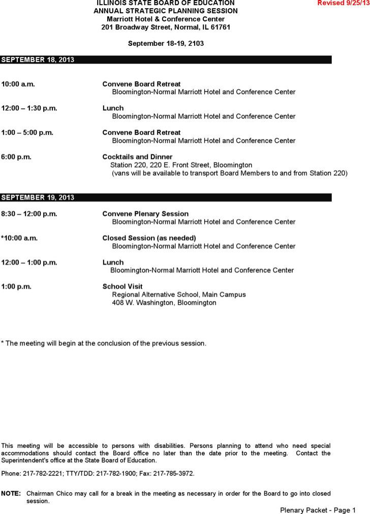 Annual Strategic Planning Session Meeting Agenda