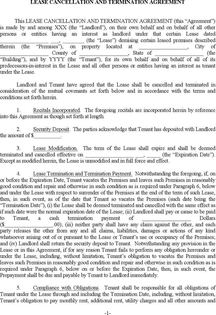 Apartment Lease Termination Template