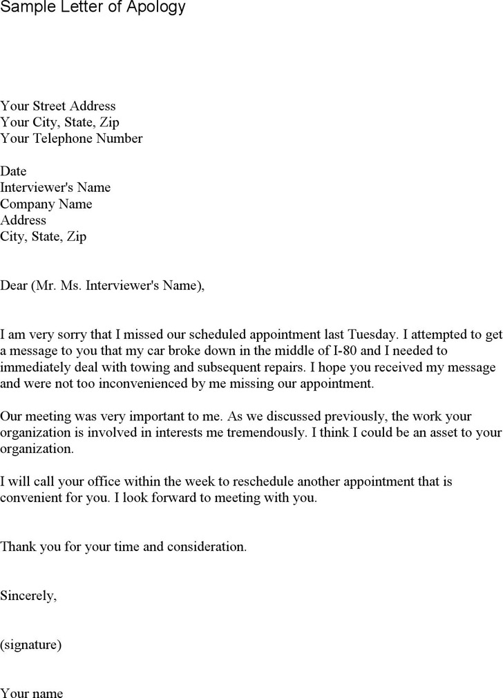 Apology Letter for Missing Appointment 2