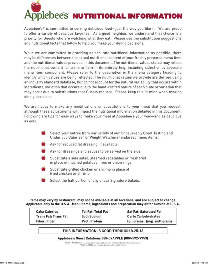 Applebees Nutrition Information