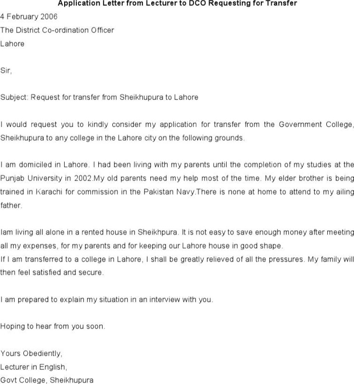 Application Letter From Lecturer To Dco Requesting For Transfer