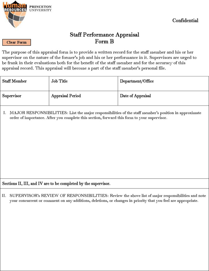 Appraisal Form Sample
