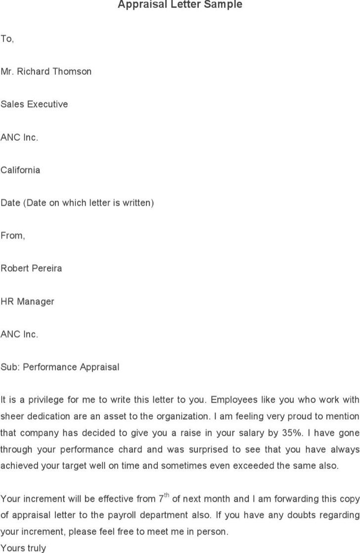 Appraisal Letter Template Sample