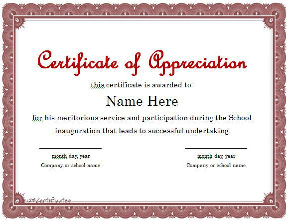 Appreciation Certificate Template for Student