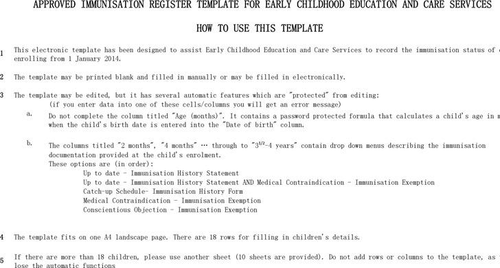 Approved Immunisation Register Template