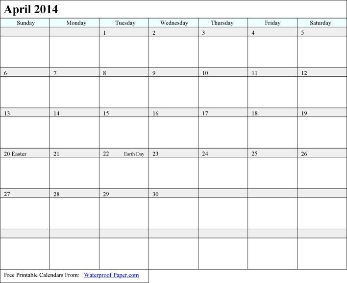 April 2014 Calendar 2