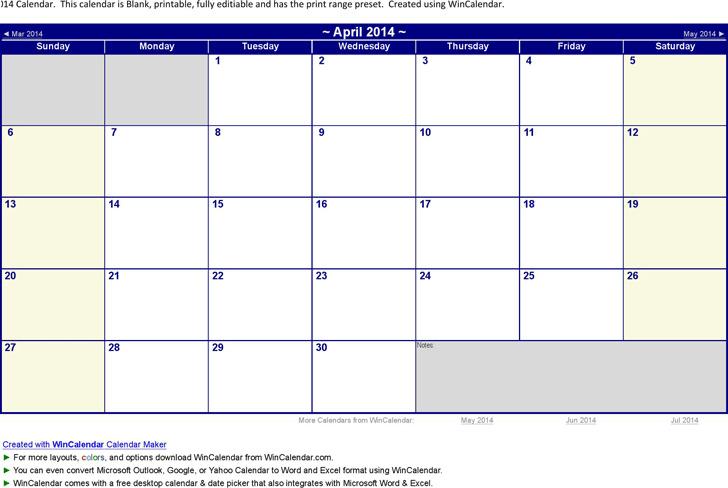 April 2014 Calendar 3