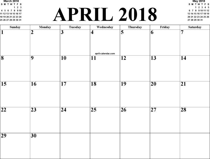 April 2018 Calendar 2