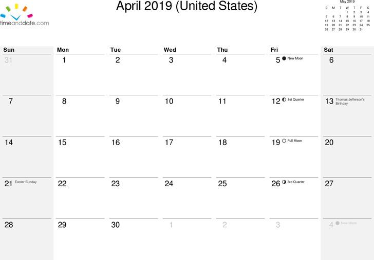 April 2019 Calendar 2