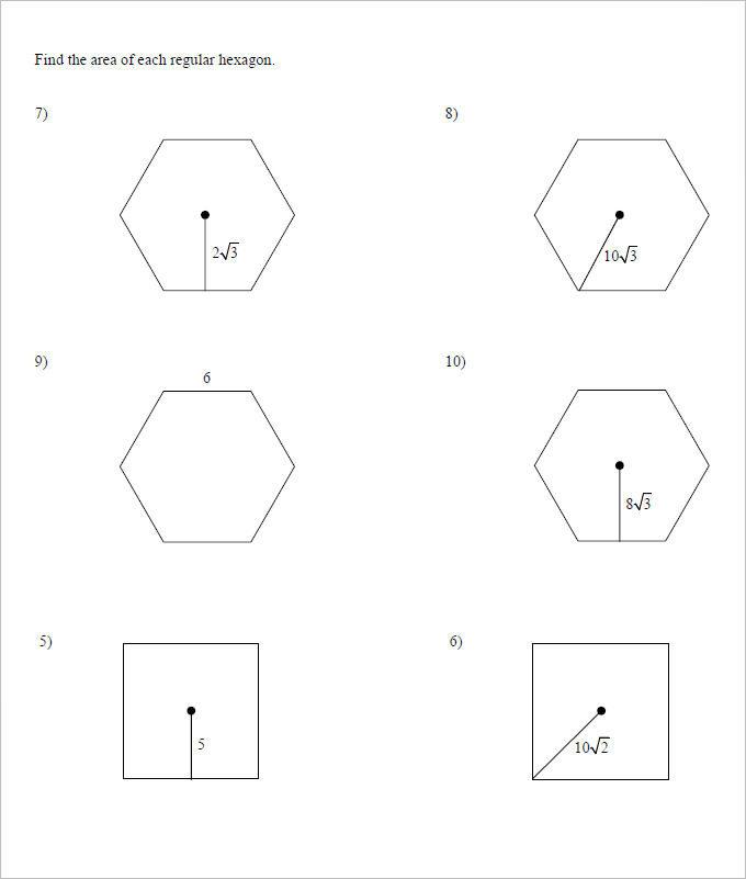 Area of Geometrics High School Worksheet Template