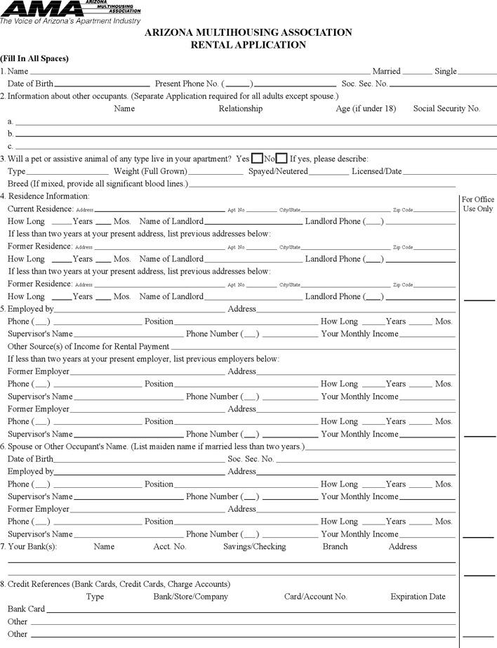Arizona Rental Application Form