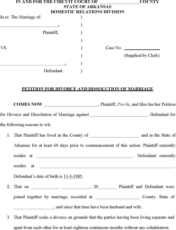 arkansas divorce form Download Arkansas Divorce Papers for Free - TidyTemplates