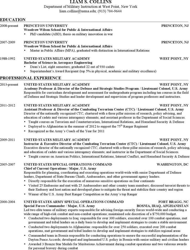 Army Infantryman Resume
