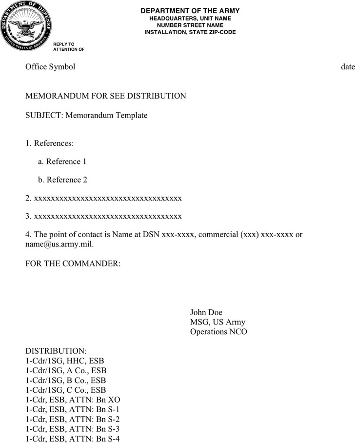 Army Memorandum Template 1