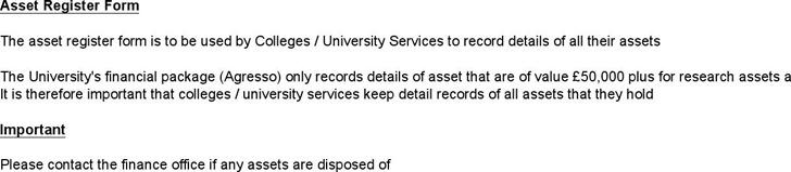 Asset Register Form