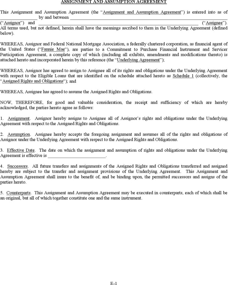 Assignment and Assumption Agreement