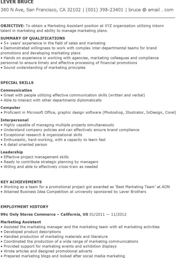 Assistant Marketing Coordinator Resume