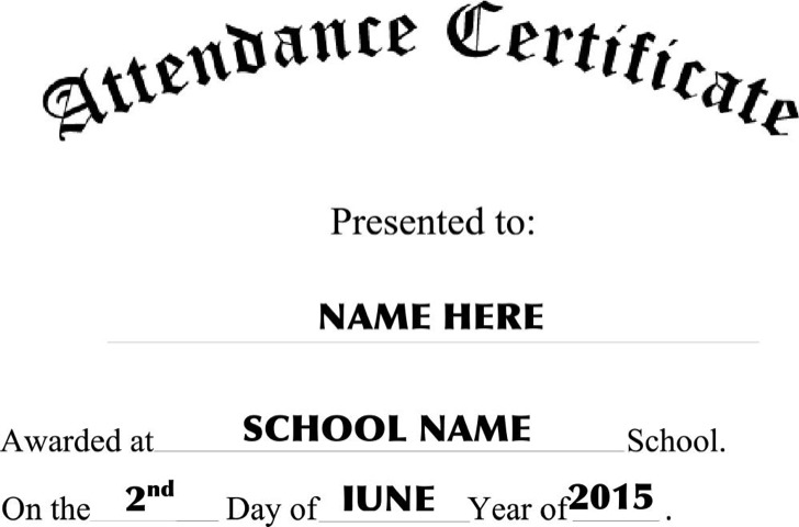 Attendance Certificate Free Template Geographics