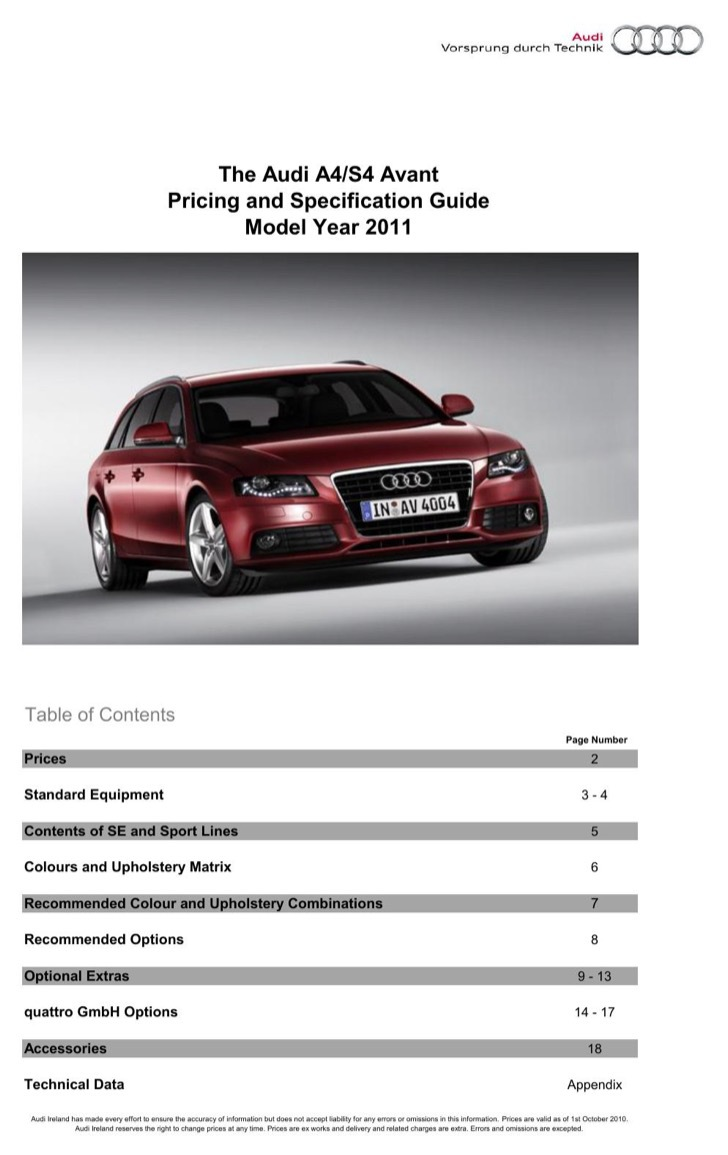 Audi User's Manual Sample