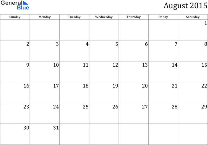 August 2015 Calendar 2