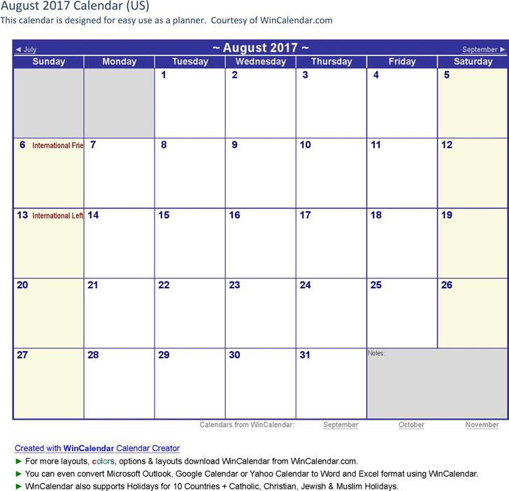 August 2017 Calendar 1